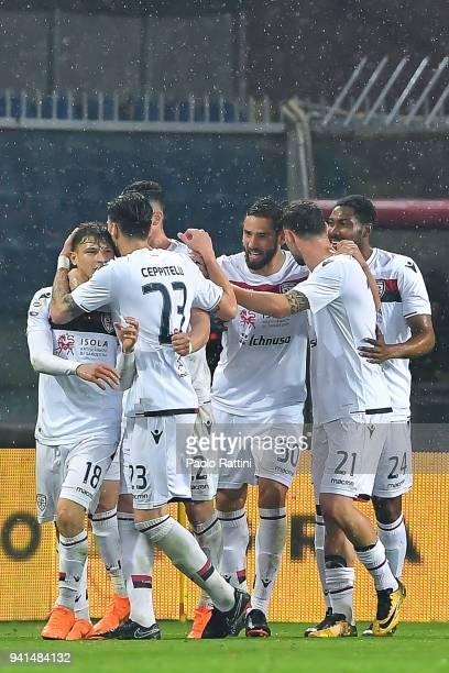 Nicolo Barella of Cagliari celebrates with teammates after scoring a goal on a penalty kick during the serie A match betweenGenoa CFC and Cagliari...