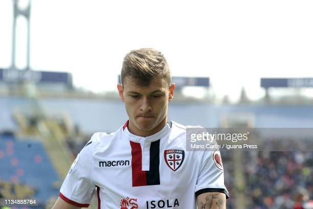 Nicolo Barella of Cagliari looks on during the Serie A match between Bologna FC and Cagliari at Stadio Renato Dall'Ara on March 10 2019 in Bologna...