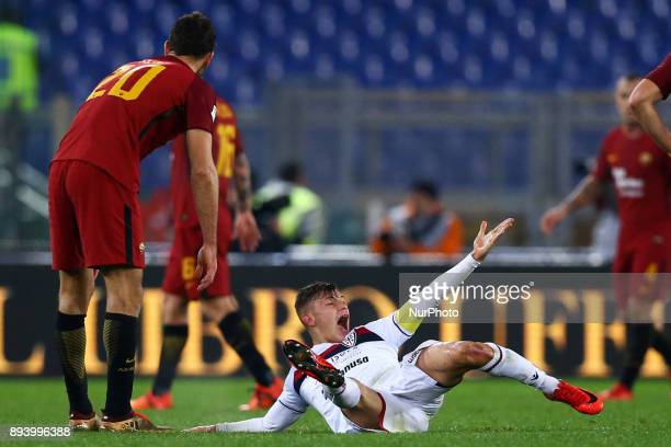 Nicolo Barella of Cagliari reclaiming the medical assistance after the injury during the Italian Serie A football match Roma vs Cagliari on December...