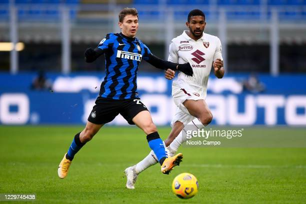 Nicolo Barella of FC Internazionale competes for the ball with Gleison Bremer of Torino FC during the Serie A football match between FC...