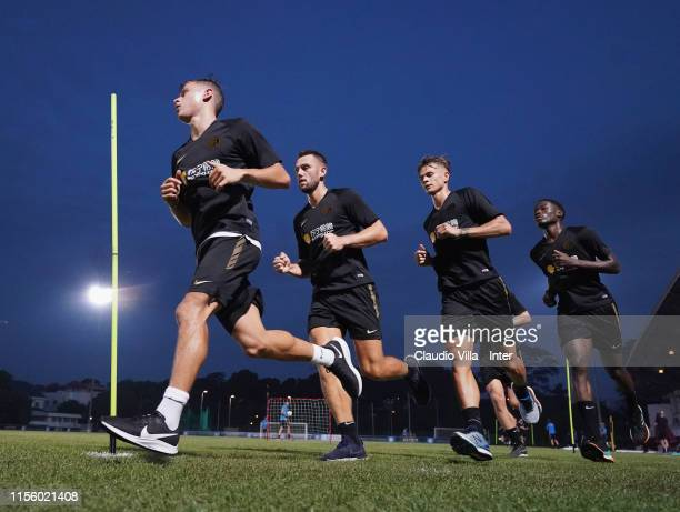 Nicolo Barella of FC Internazionale in action during a FC Internazionale training session on July 17 2019 in Singapore Singapore