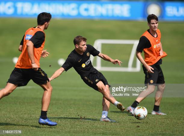 Nicolo Barella of FC Internazionale in action during a FC Internazionale training session at Appiano Gentile on August 27 2019 in Como Italy