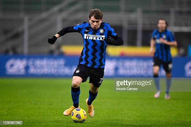 Nicolo Barella of FC Internazionale in action during the Coppa Italia football match between FC Internazionale and Juventus FC. Juventus FC won 2-1...