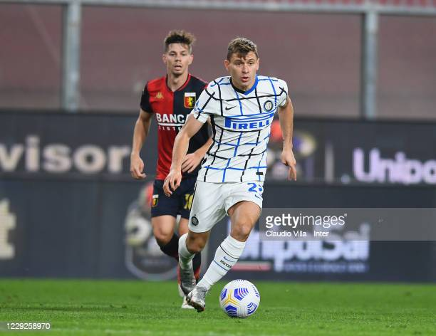 Nicolo Barella of FC Internazionale in action during the Serie A match between Genoa CFC and FC Internazionale at Stadio Luigi Ferraris on October...