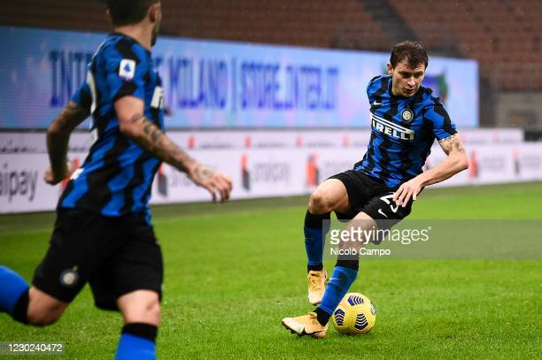 Nicolo Barella of FC Internazionale in action during the Serie A football match between FC Internazionale and Spezia Calcio. FC Internazionale won...