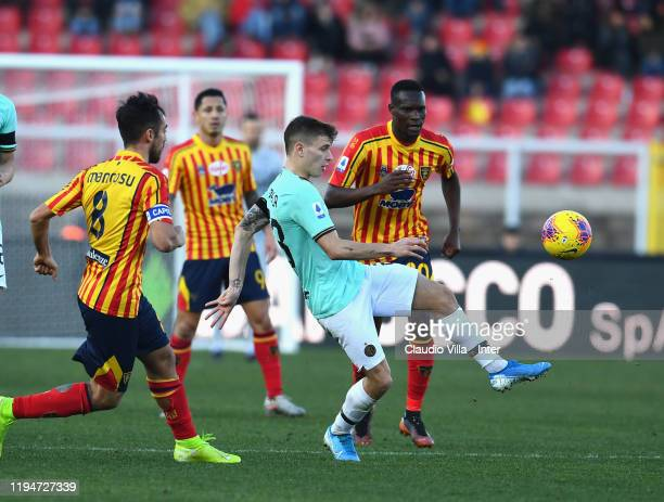 Nicolo Barella of FC Internazionale in action during the Serie A match between US Lecce and FC Internazionale at Stadio Via del Mare on January 19,...