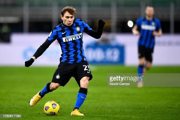 Nicolo Barella of FC Internazionale kicks the ball during the Coppa Italia football match between FC Internazionale and AC Milan. FC Internazionale...