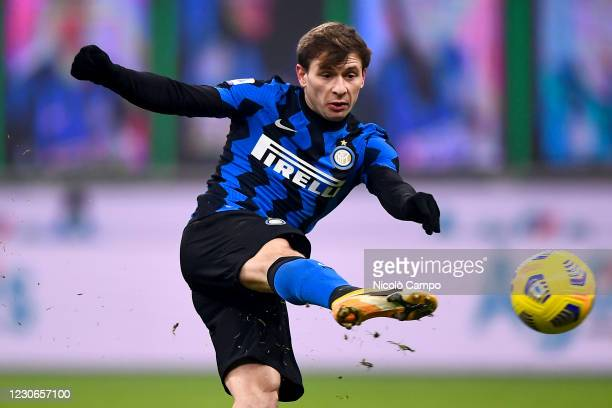 Nicolo Barella of FC Internazionale kicks the ball during the Serie A football match between FC Internazionale and Juventus FC. FC Internazionale won...