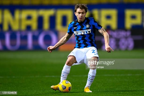 Nicolo Barella of FC Internazionale kicks the ball during the Serie A football match between Parma Calcio and FC Internazionale. FC Internazionale...