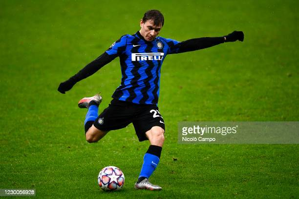 Nicolo Barella of FC Internazionale kicks the ball during the UEFA Champions League Group B football match between FC Internazionale and FC Shakhtar...