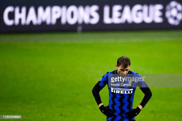 Nicolo Barella of FC Internazionale looks dejected in front of a billboard reading 'Champions League' during the UEFA Champions League Group B...