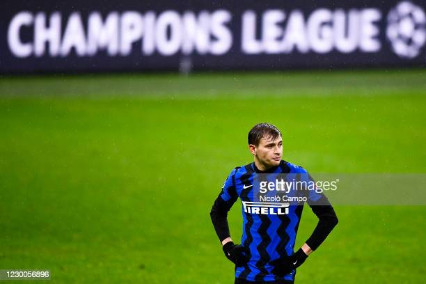 Nicolo Barella of FC Internazionale looks on in front of a billboard reading 'Champions League' during the UEFA Champions League Group B football...