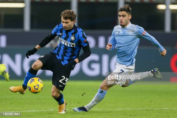 Nicolo Barella of Inter and Andreas Pereira of Lazio during the Serie A match between Inter Milan and Lazio Roma at San Siro Stadium on February 14,...