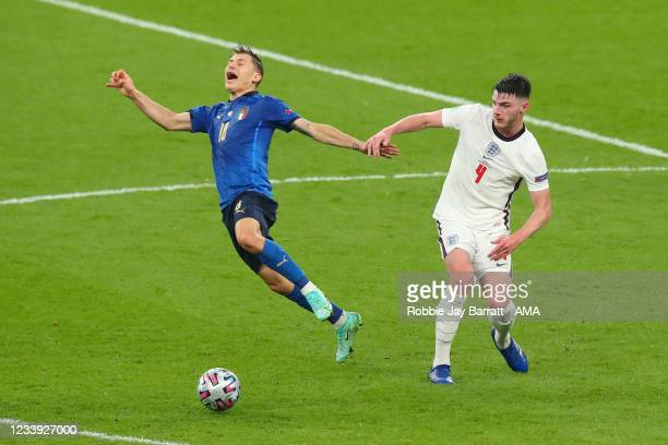 Nicolo Barella of Italy and Declan Rice of Englandduring the UEFA Euro 2020 Championship Final between Italy and England at Wembley Stadium on July...