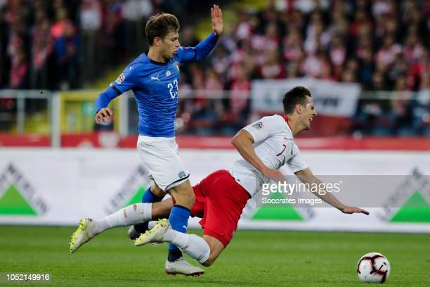 Nicolo Barella of Italy Arkadiusz Milik of Poland during the UEFA Nations league match between Poland v Italy at the Slaski Stadium on October 14...