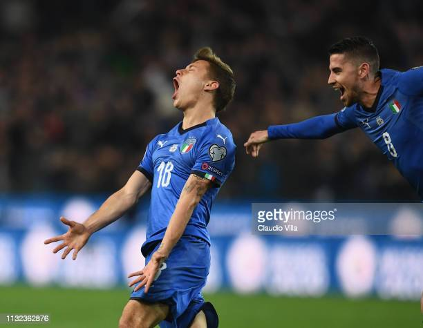 Nicolo Barella of Italy celebrates after scoring the opening goal during the 2020 UEFA European Championships group J qualifying match between Italy...