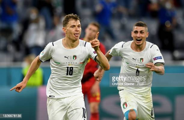 Nicolo Barella of Italy celebrates after scoring their side's first goal during the UEFA Euro 2020 Championship Quarter-final match between Belgium...
