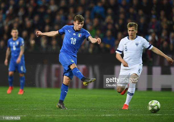 Nicolo Barella of Italy celebrates scores the opening goal during the 2020 UEFA European Championships group J qualifying match between Italy and...