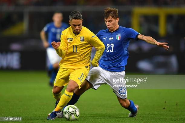 Nicolo Barella of Italy competes for the ball with Marlos of Ukraine during the International Friendly match between Italy and Ukraine on October 10...