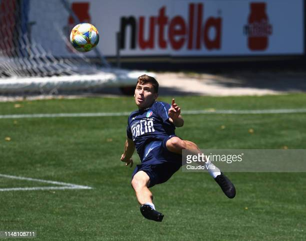 Nicolo Barella of Italy in action during a Italy training session at Centro Tecnico Federale di Coverciano on June 5 2019 in Florence Italy