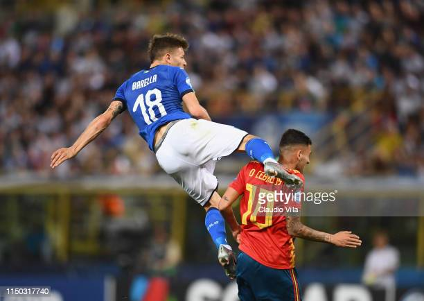 Nicolo Barella of Italy in action during the 2019 UEFA U21 Group A match between Italy and Spain at Renato Dall'Ara stadium on June 16 2019 in...