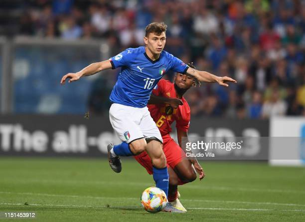 Nicolo Barella of Italy in action during the 2019 UEFA U-21 Group A match between Belgium and Italy at Stadio Citta del Tricolore on June 22, 2019 in...