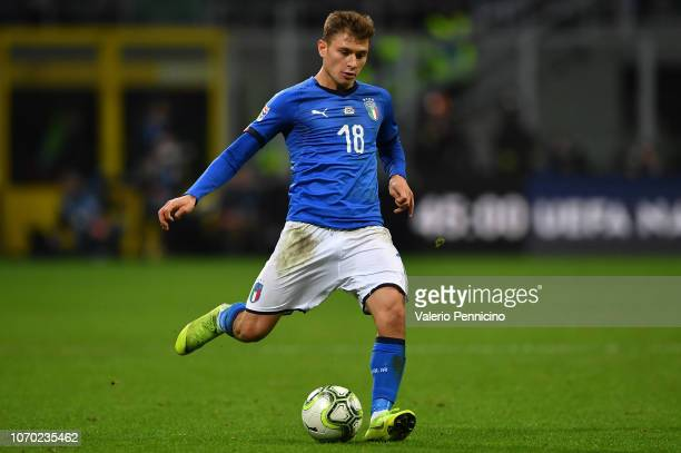 Nicolo Barella of Italy in action during the UEFA Nations League A group three match between Italy and Portugal at Stadio Giuseppe Meazza on November...
