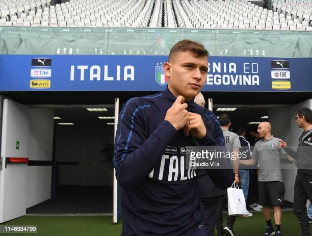 Nicolo Barella of Italy looks on during a Italy training session at Allianz Stadium on June 10 2019 in Turin Italy