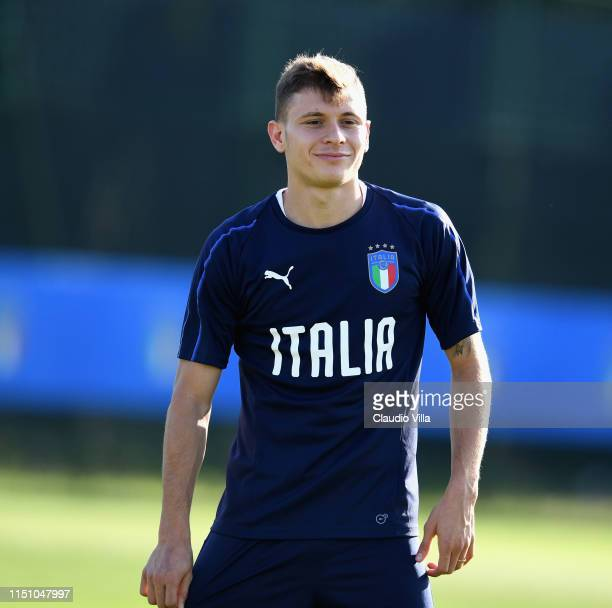 Nicolo Barella of Italy looks on during a training session at Casteldebole Training Center on June 20 2019 in Bologna Italy