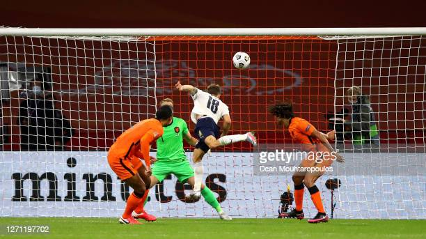 Nicolo Barella of Italy scores the opening goal during the UEFA Nations League group stage match between Netherlands and Italy at Johan Cruijff Arena...
