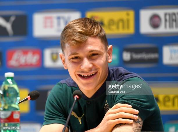 Nicolo Barella of Italy speaks with the media during press conference at Centro Tecnico Federale di Coverciano on July 04, 2021 in Florence, Italy.