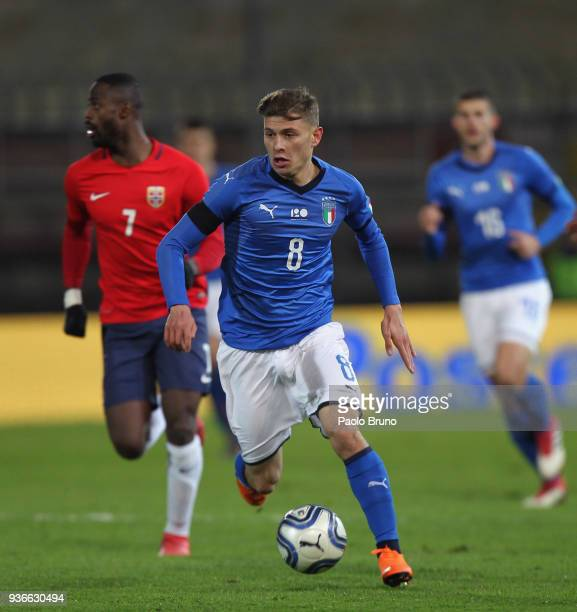 Nicolo' Barella of Italy U21in action during the international friendly match between Italy U21 and Norway U21 at Stadio Renato Curi on March 22 2018...