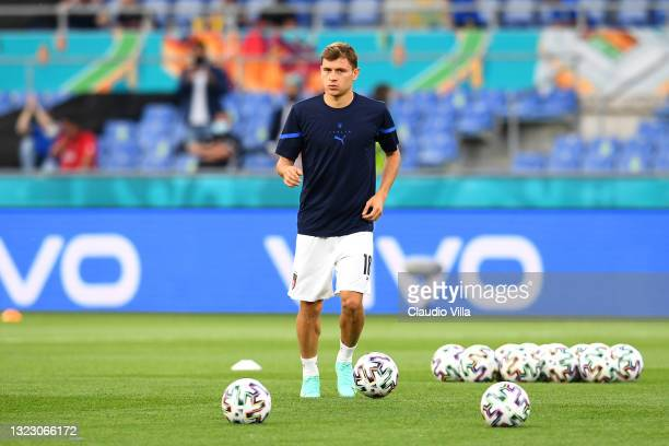 Nicolo Barella of Italy warms up prior to the UEFA Euro 2020 Championship Group A match between Turkey and Italy at the Stadio Olimpico on June 11,...