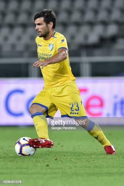 Nicolo' Brighenti of Frosinone Calcio controls the ball during the serie A match between Frosinone Calcio and Bologna FC at Olimpico Stadium on...