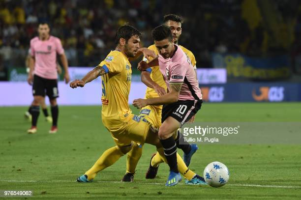 Nicolo Brighenti of Frosinone fouls Igor Coronado of Palermo during the serie B playoff match final between Frosinone Calcio v US Citta di Palermo at...