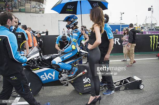 Nicolo Bulega of Italy and Sky Racing Team VR46 prepares to start on the grid during the Moto3 race during the MotoGp of France Race at on May 8 2016...