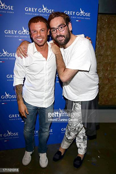 Nicolo Cardi and Carlo Mengucci attend Grey Goose Carlo Mengucci Party on June 21 2013 in Milan Italy
