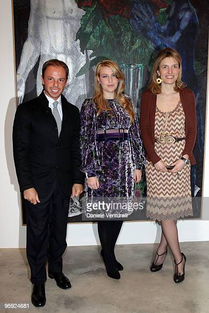 Nicolo Cardi Barbara Berlusconi and Martina Mondadori attend the Jorg Immendorff show at the Cardi Black Box Gallery on January 21 2010 in Milan Italy