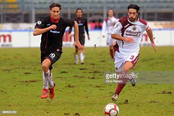 Nicolo' Cherubin of Cittadella competes with Simone Missiroli of Reggina with Daniele Cacia of Reggina during the Serie B match between AS Cittadella...
