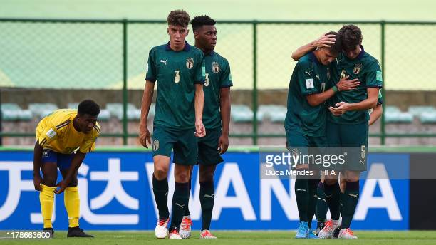 Nicolo Cudrig of Italy celebrates a scored goal with his teammates during the FIFA U17 Men's World Cup Brazil 2019 group F match between Solomon...