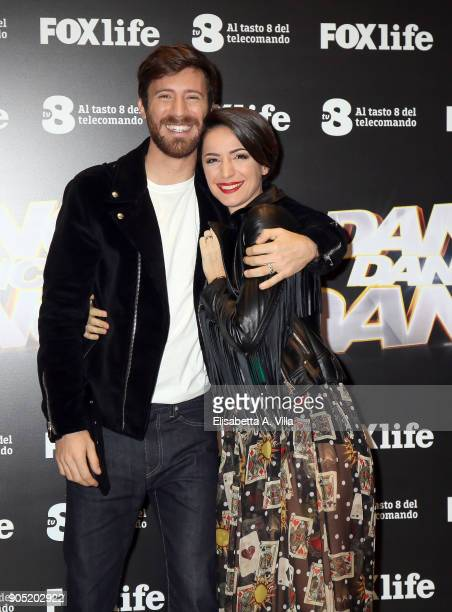 Nicolo De Devitiis and Andrea Delogu attend 'Dance Dance Dance' tv show photocall on January 15 2018 in Rome Italy