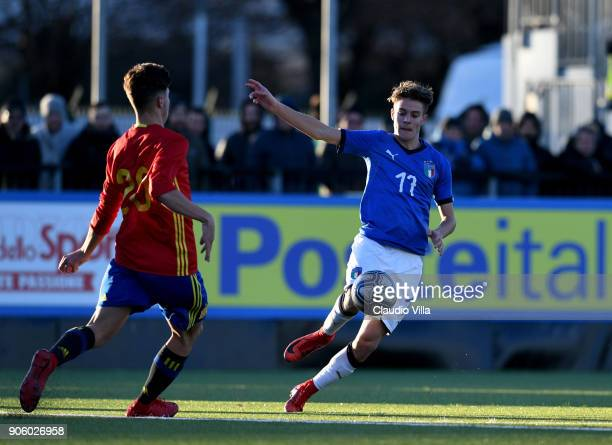 Nicolo Fagioli of Italy in action during the U17 International Friendly match between Italy and Spain at Juventus Center Vinovo on January 17 2018 in...