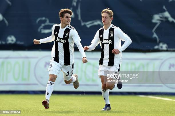 Nicolo' Fagioli of Juventus FC U19 celebrates after scoring a goal during the match between Empoli U19 and Juventus U19 on December 1 2018 in Empoli...