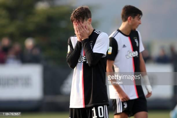 Nicolo Fagioli of Juventus Turin U19 looks dejected during the UEFA Youth League match between Juventus U19 and Atletico Madrid U19 on November 26...