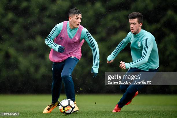 Nicolo Francofonte and Arnel Jakupovic during a Juventus training session at Juventus Center Vinovo on March 15 2018 in Vinovo Italy