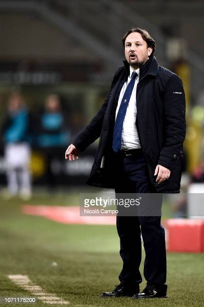 Nicolo Frustalupi assistant coach of Torino FC gestures during the Serie A football match between AC Milan and Torino FC The match ended in a 00 tie