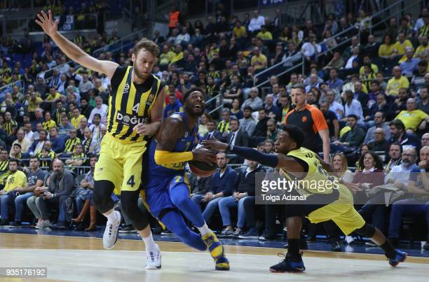 Nicolo Melli #4 and Ali Muhammed #35 of Fenerbahce Dogus in action with Deandre Kane #7 of Maccabi Fox Tel Aviv during the 2017/2018 Turkish Airlines...