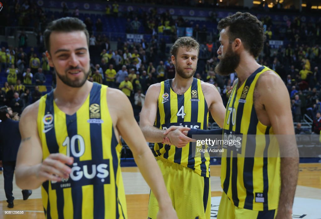 Nicolo Melli, #4 and Luigi Datome, #70 of Fenerbahce Dogus celebrates victory during the 2017/2018 Turkish Airlines EuroLeague Regular Season Round 18 game between Fenerbahce Dogus Istanbul and Panathinaikos Superfoods Athens at Ulker Sports and Event Hall on January 17, 2018 in Istanbul, Turkey.