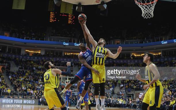 Nicolo Melli #4 of Fenerbahce Beko Istanbul in action with James Anderson #23 of Anadolu Efes Istanbul during the 2018/2019 Turkish Airlines...