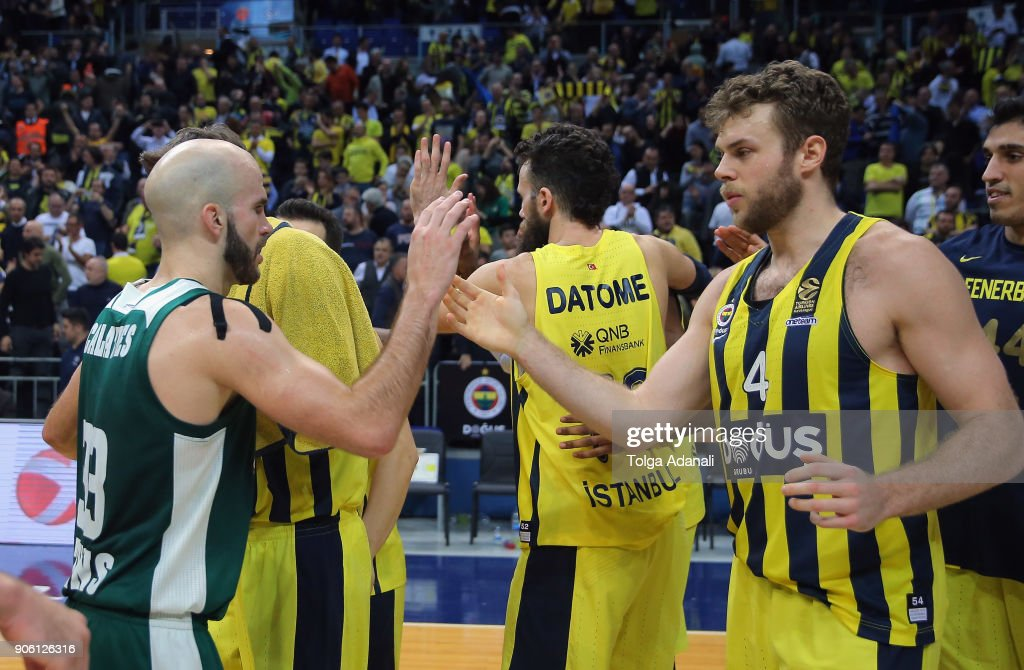 Nicolo Melli, #4 of Fenerbahce Dogus and Nick Calathes, #33 of Panathinaikos Superfoods celebrates during the 2017/2018 Turkish Airlines EuroLeague Regular Season Round 18 game between Fenerbahce Dogus Istanbul and Panathinaikos Superfoods Athens at Ulker Sports and Event Hall on January 17, 2018 in Istanbul, Turkey.